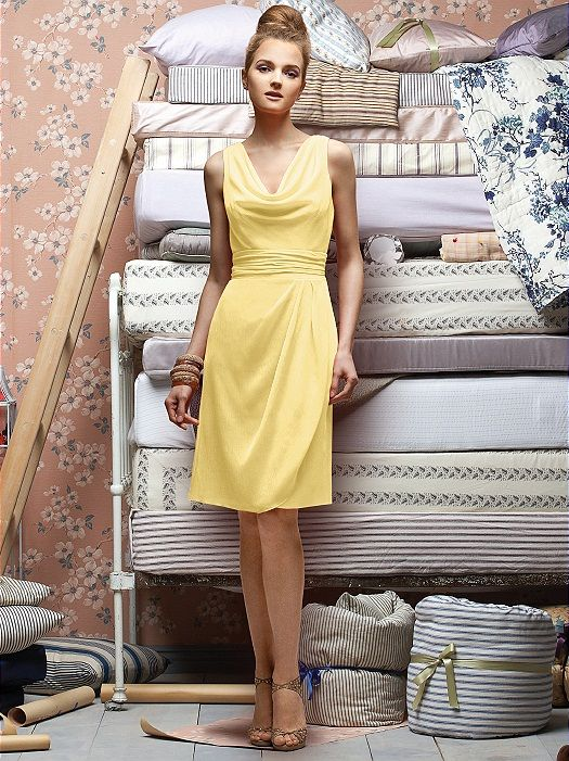 cowl neck yellow dress