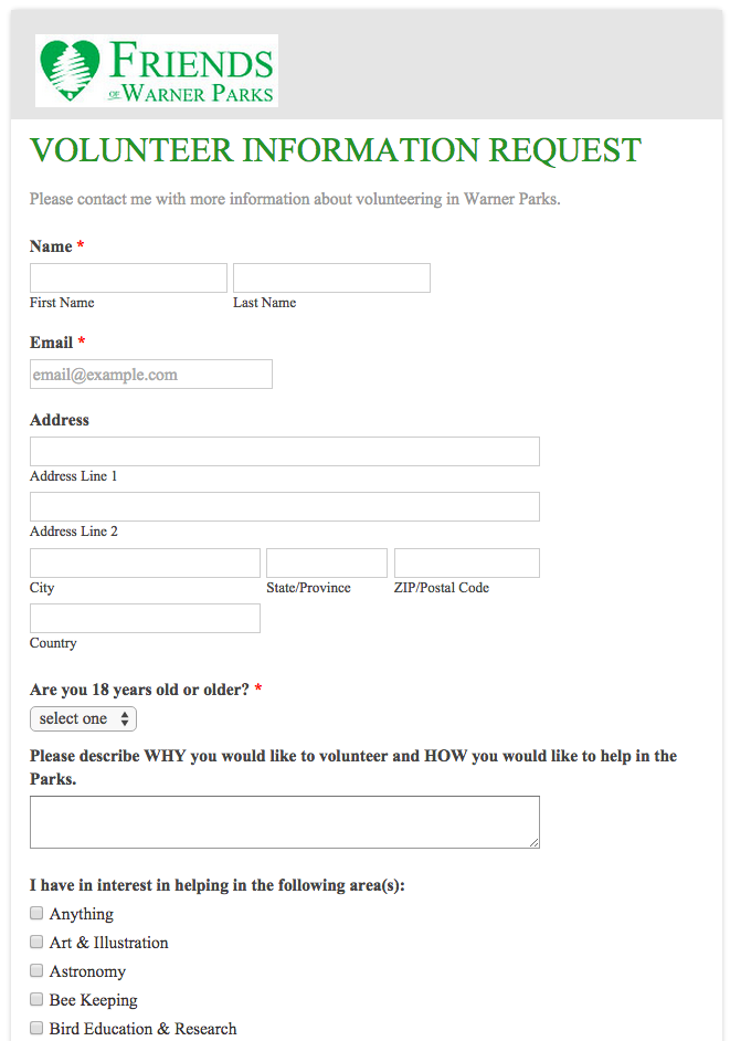 Friends of Warner Parks Volunteer Application Form | Volunteer ...
