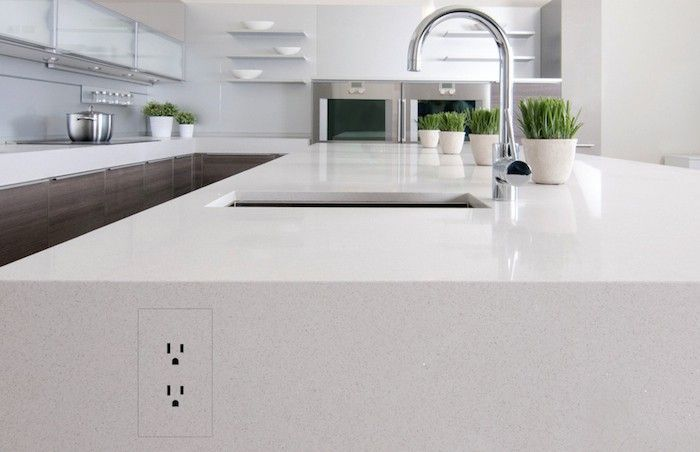 image result for outlet in waterfall countertop | detail