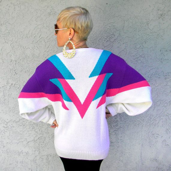 80s COLOR BLOCK Sweater - Vintage 80s Electric Pink Turquoise Blue Purple  White Punk New Wave Sweater w  Geometric Triangles design - M L.  42.00 353bc0d11