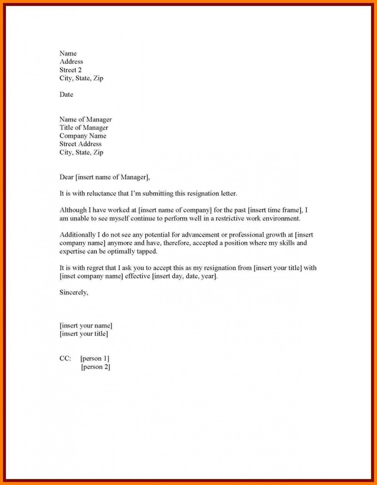 Resignation Letter Template 1 Month Notice Ten Ideas To