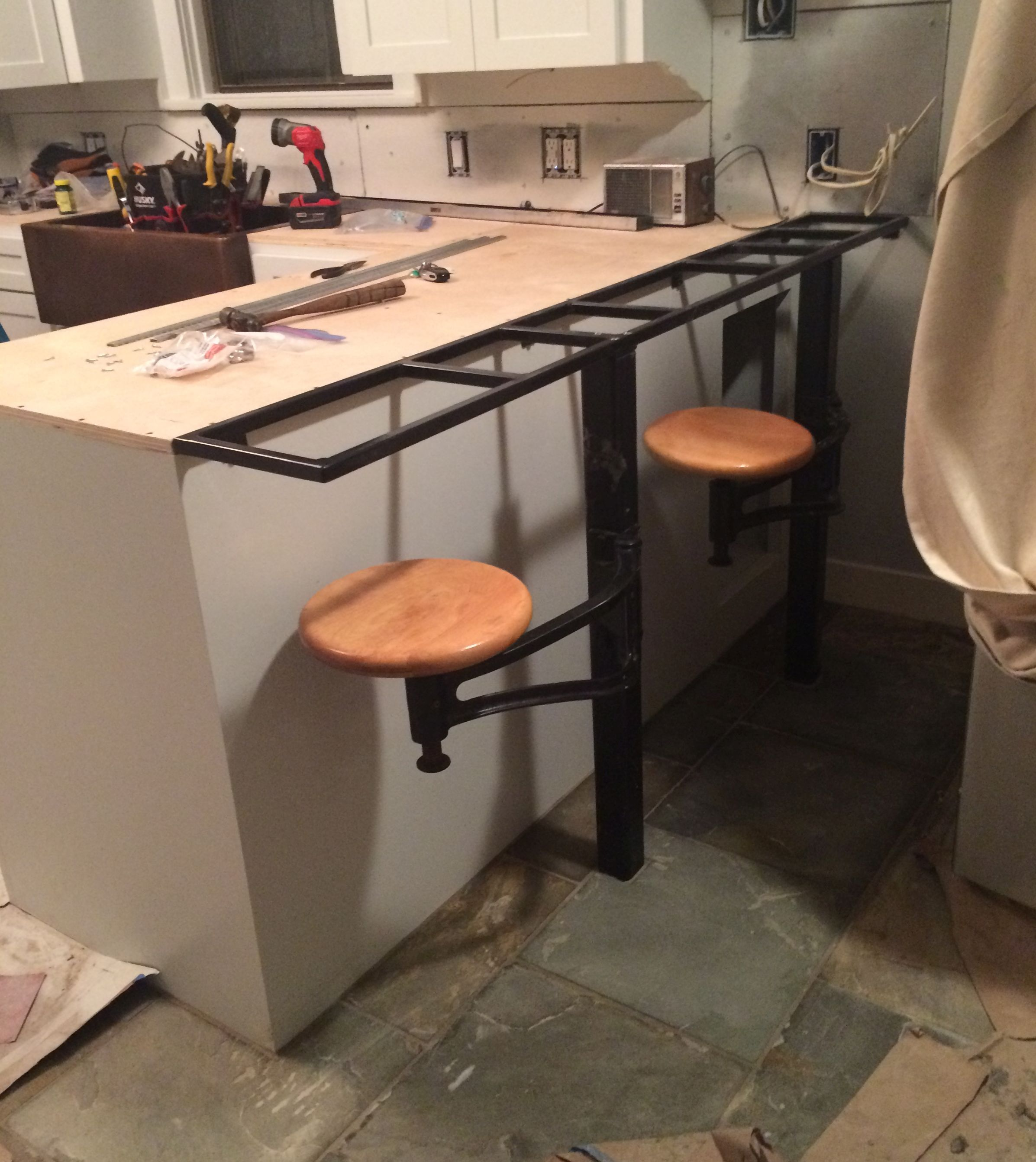 Welded Frame That Supports Countertop Overhang And Stools In Our Kitchen Kitchen Dinning Room Kitchen Solutions Stools For Kitchen Island