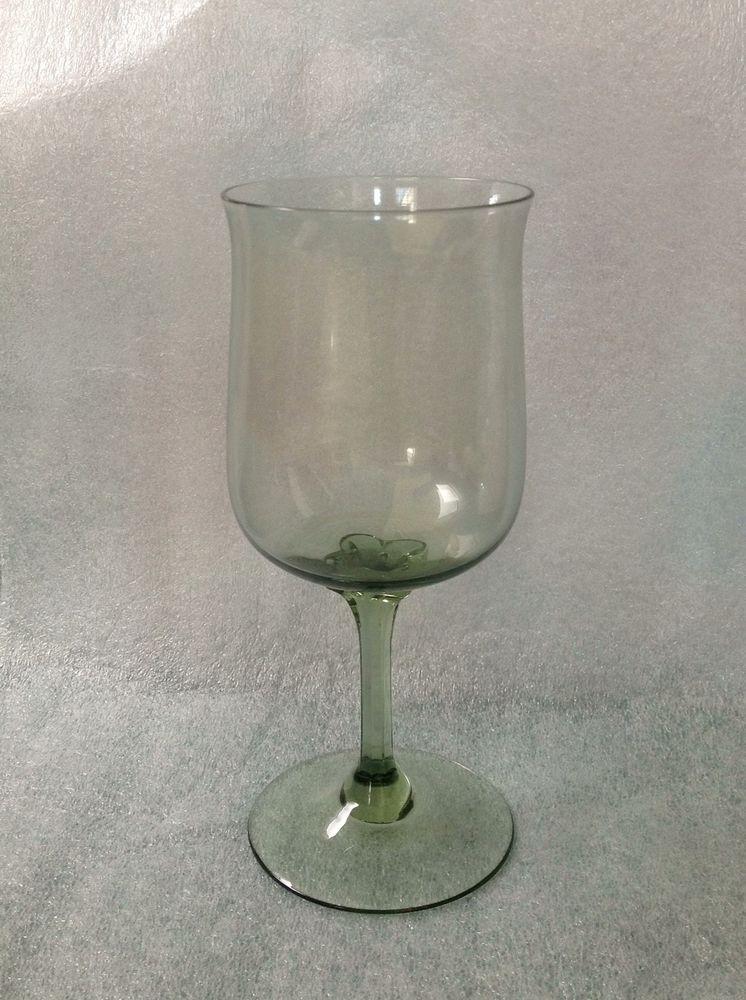 8 Lenox Crystal Green Mist Pattern Water Goblet Or Glass W Storage