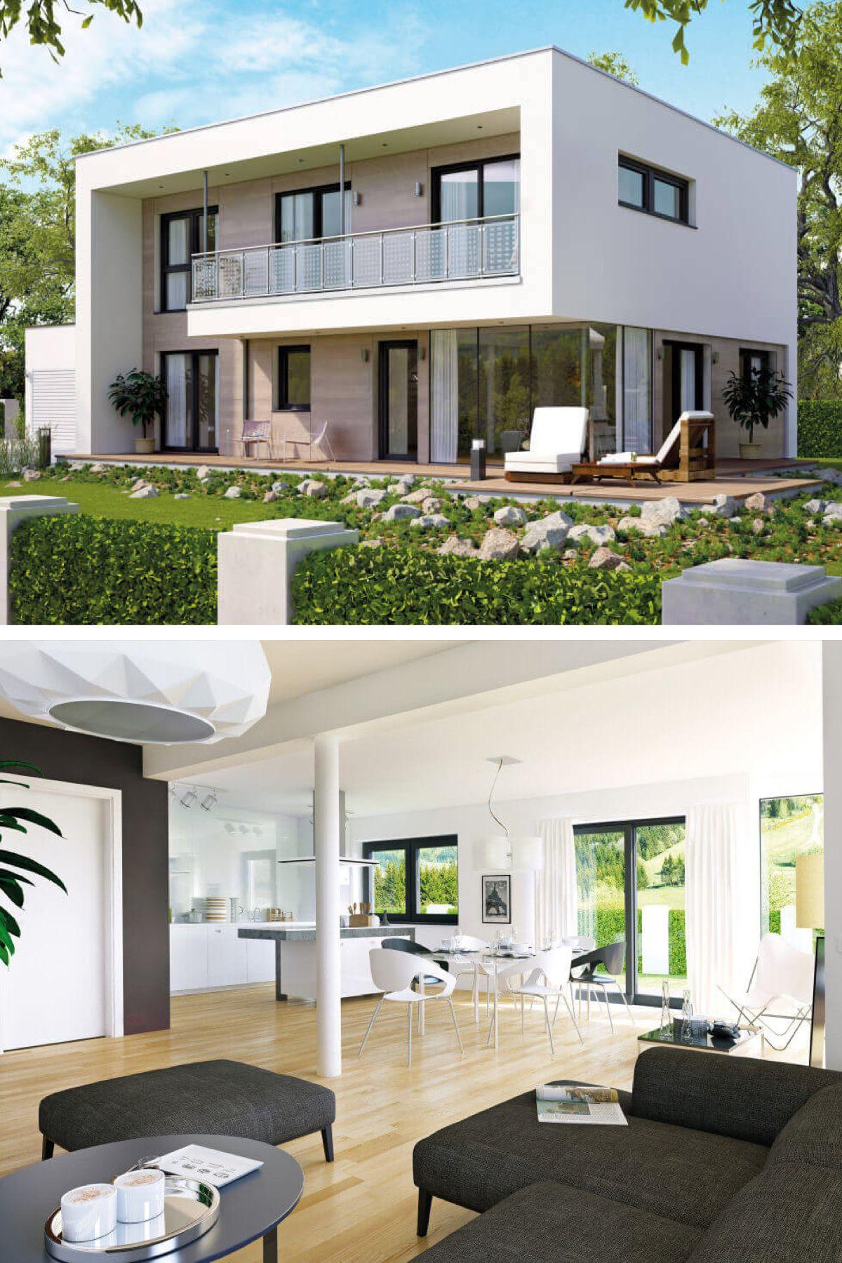 Stadtvilla modern Bauhaus-Stil mit Flachdach-Architektur - Haus ...