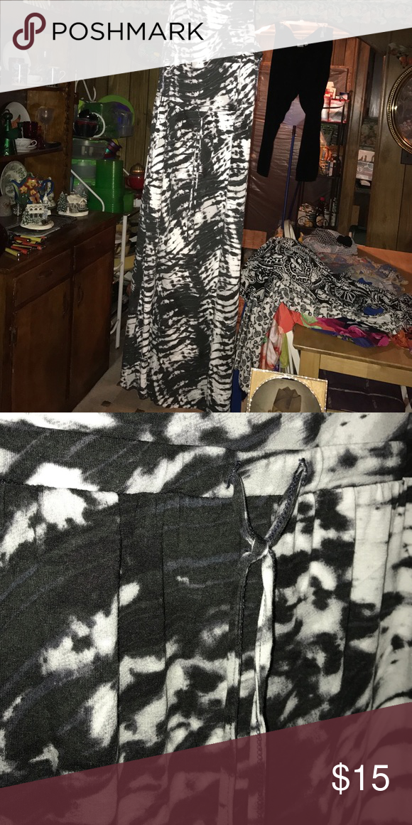 New charcoal and white tie dye maxi dress This tie dye maxi dress is new and never worn Dresses Maxi