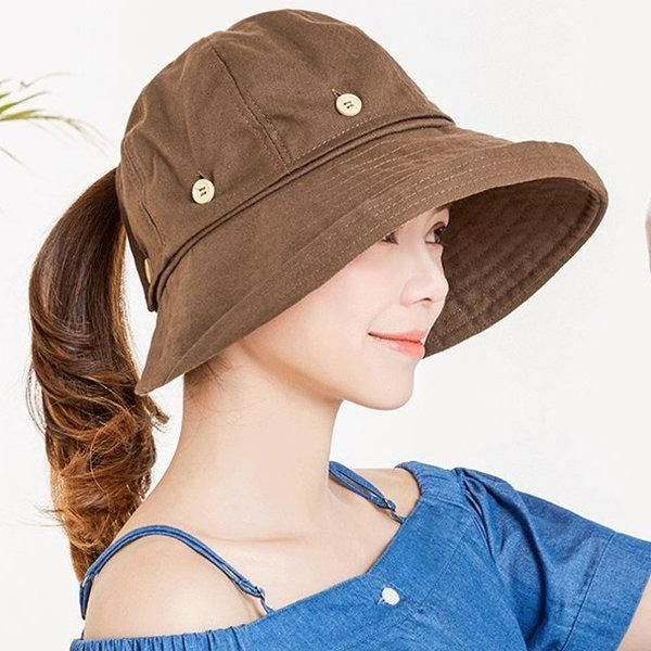 a3dd31924e4 Womens Summer Foldable Sunscreen Cloche Round Bucket Cap Adjustable  Fisherman Hats Vintage Hat  Hats  WomenAccessories