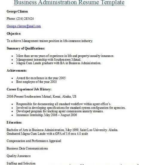 Business Administration Resume -   getresumetemplateinfo/3643