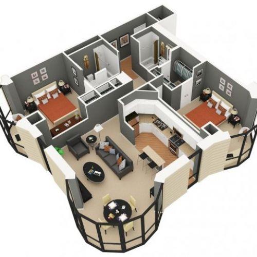 1 Bedroom Studio 3d Plans - Google Search
