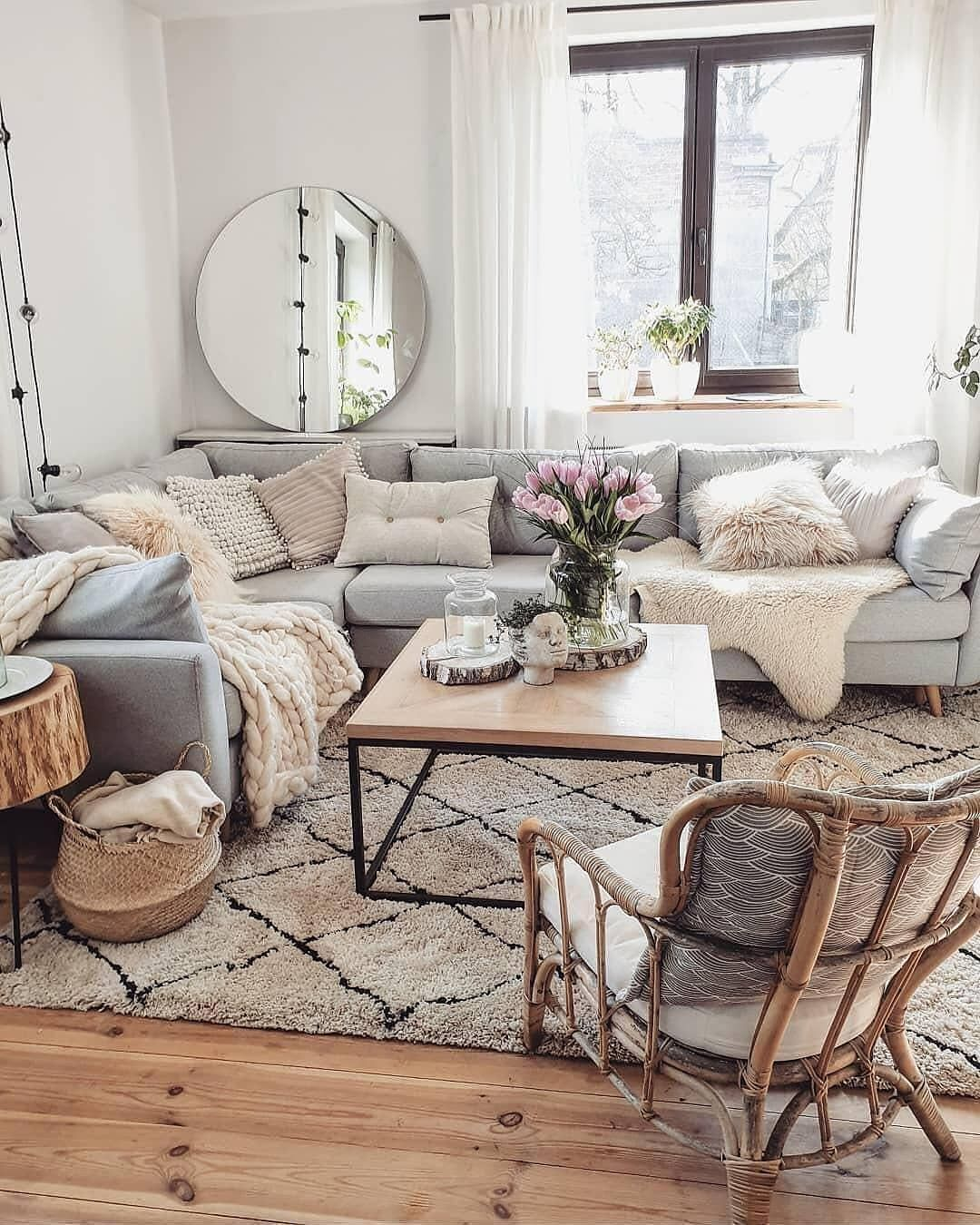 Cozy Interior Design Ideas Using Throw Pillows And Wooden Elements With Pastel I Living Room Decor Apartment Scandinavian Design Living Room Rustic Living Room