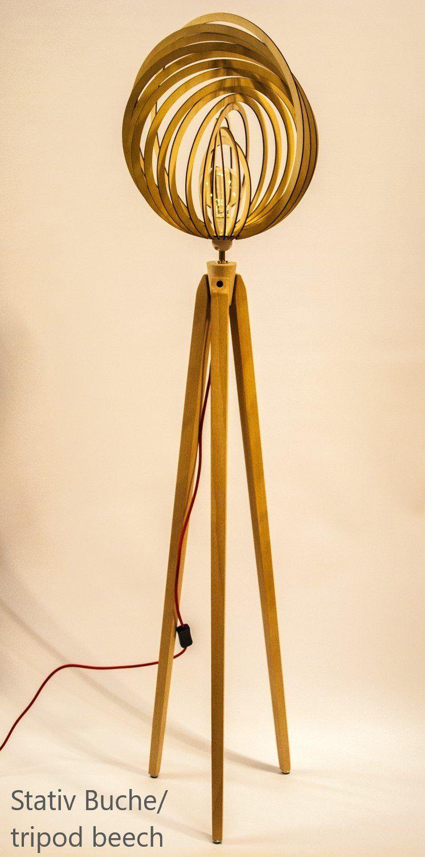 Stehlampe Dreibein Retro 60 70iger Design Holz Tripod Floor Lamp