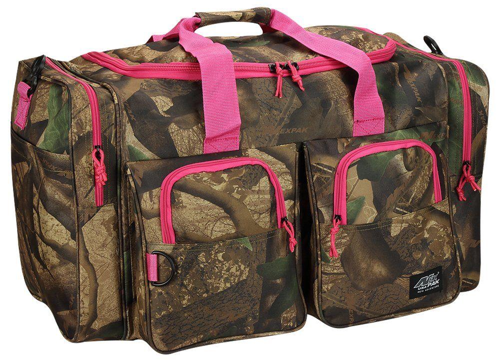Womens Large Outdoor 30 Inch Pink Camo Duffel Duffle Gear Sport Gym Shoulder Bag