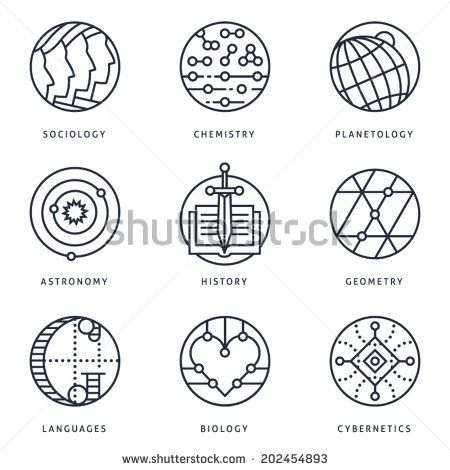 Illustrations and logo templates of fundamental science