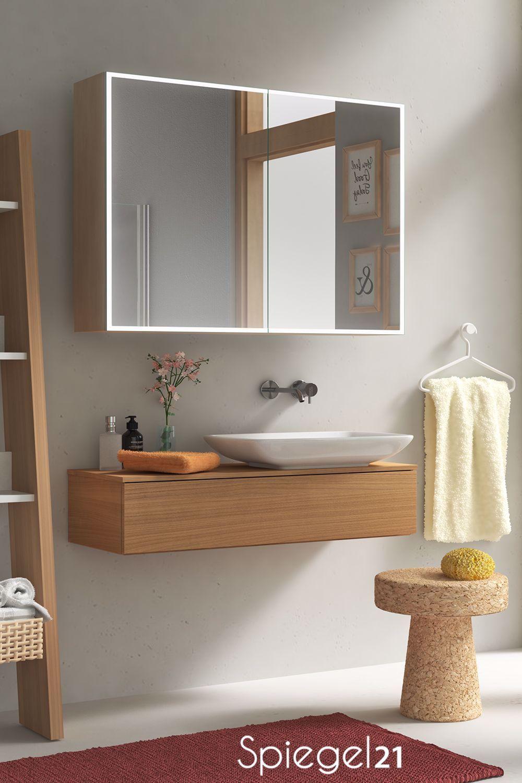 Stilvoller Unterputz Spiegelschrank Fur Das Bad Mit Rundherum Verlaufendem Led Leuchtrahmen In 2020 Mirror Cabinets Interior Design Kitchen Small Bathroom Interior