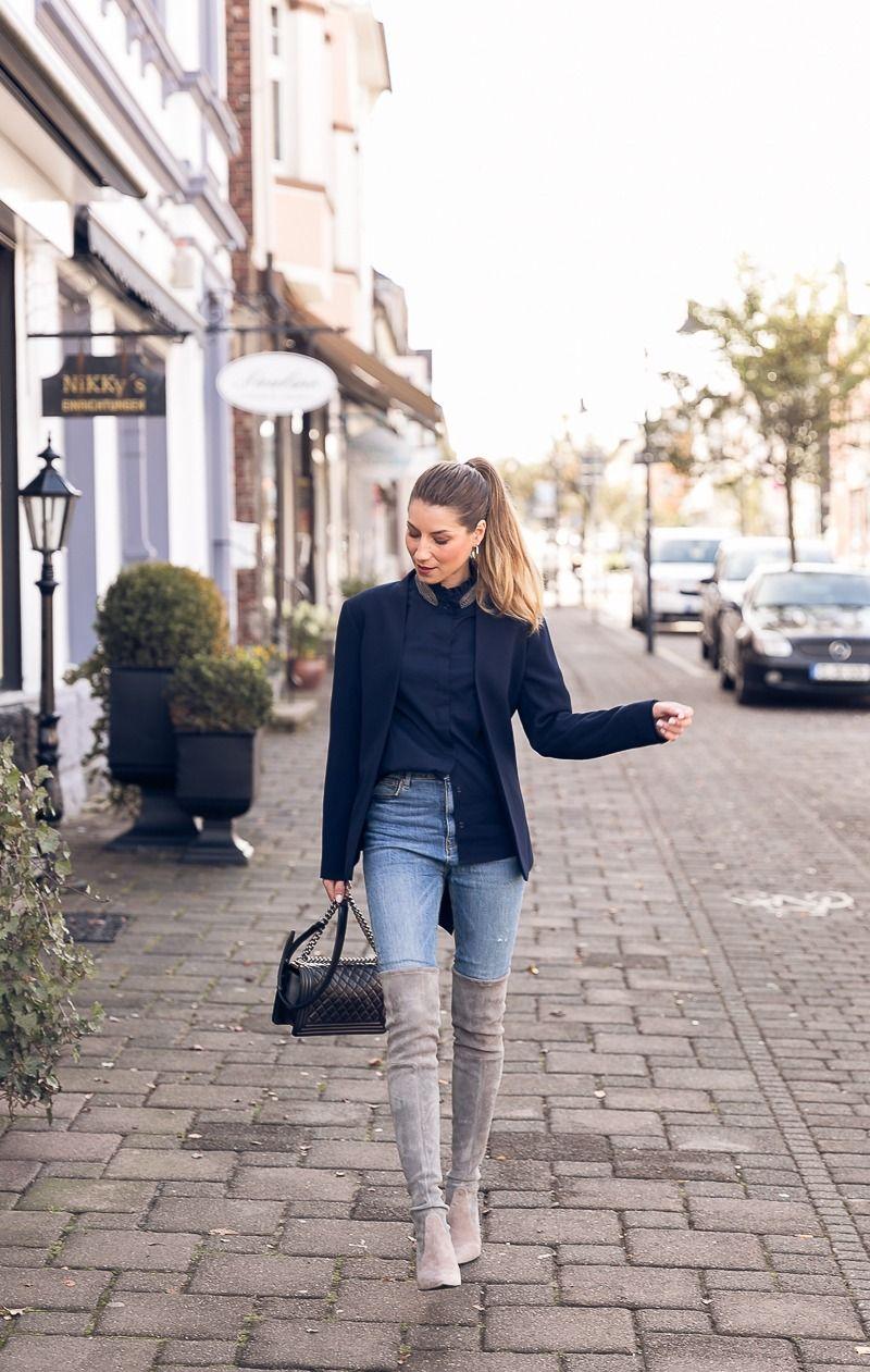 die stiefel sind zur ck overknees blazer stehkragenbluse jeans boot overknee grey. Black Bedroom Furniture Sets. Home Design Ideas