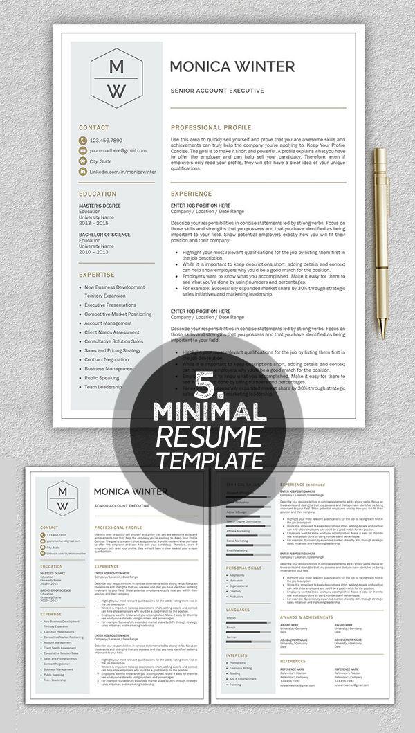 Monica Winter minimal resume template #cleanresume #minimaltemplate