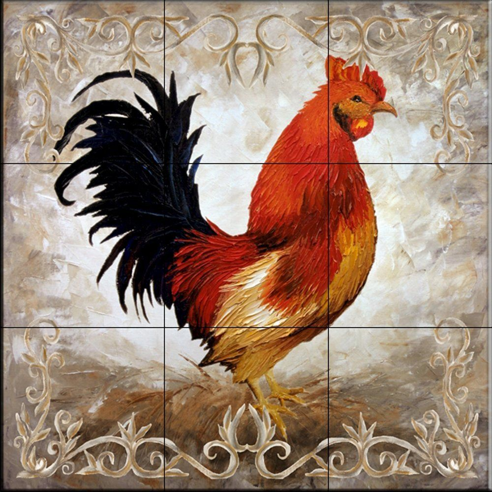 Mural Tiles For Kitchen Decor Rooster Ii By Malenda Trick Kitchen Backsplash Bathroom Wall