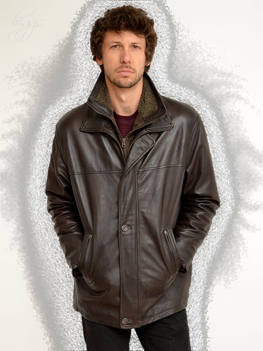 Higgs Leathers New Epson Men S Warm Lined Dark Brown Leather Car Coats Car Coat Coat Dark Brown Leather [ 1200 x 900 Pixel ]