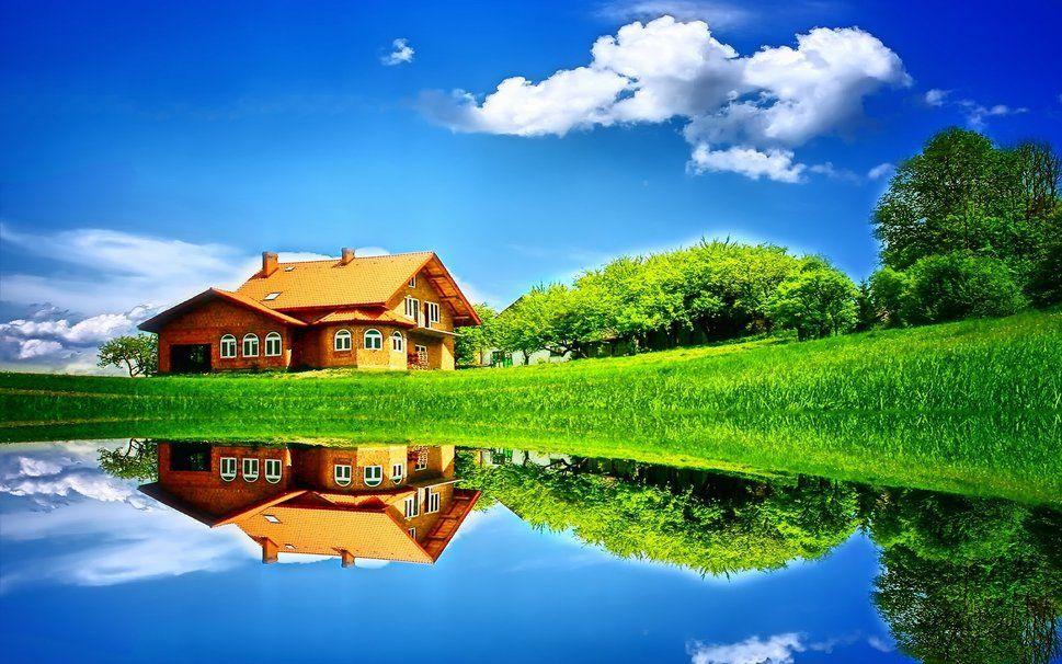 Paisaje Naturaleza Verano Hogar Casa Arboles Cielo Nubes