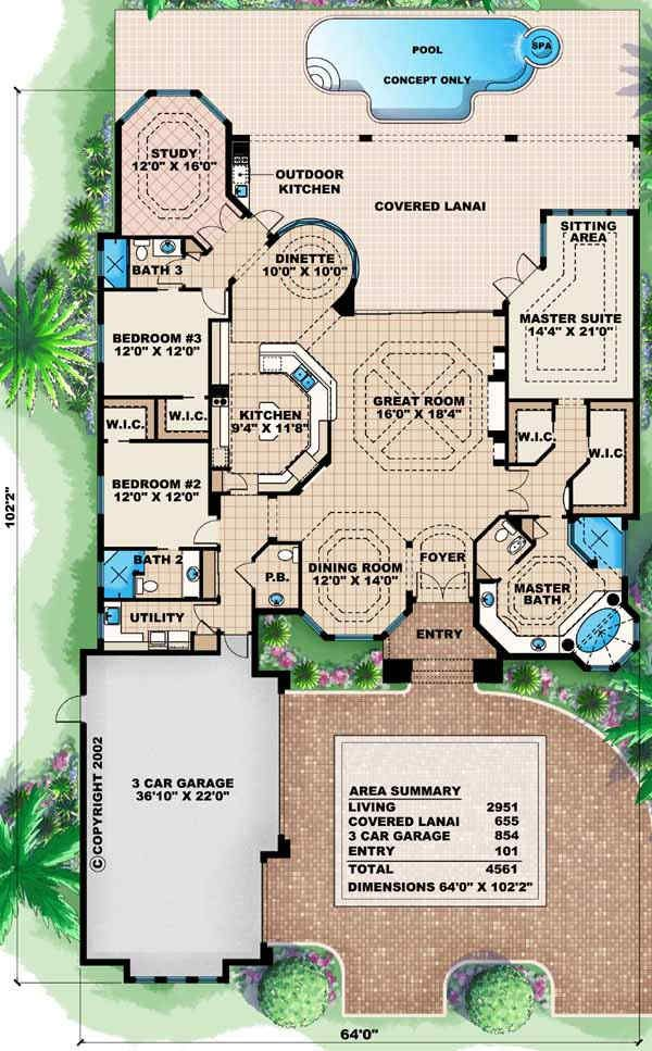 Florida Style House Plans 2951 Square Foot Home 1 Story 3 Bedroom And 1 3 Bath 3 Garage Stalls By Florida House Plans Mediterranean House Plan How To Plan