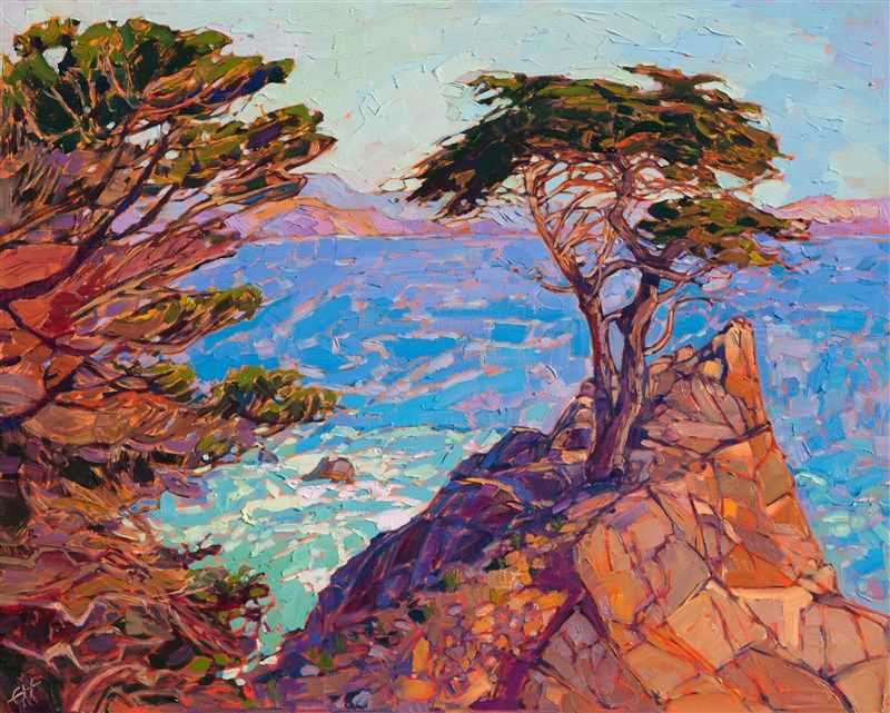 Modern impressionism oil painting of lone cypress in