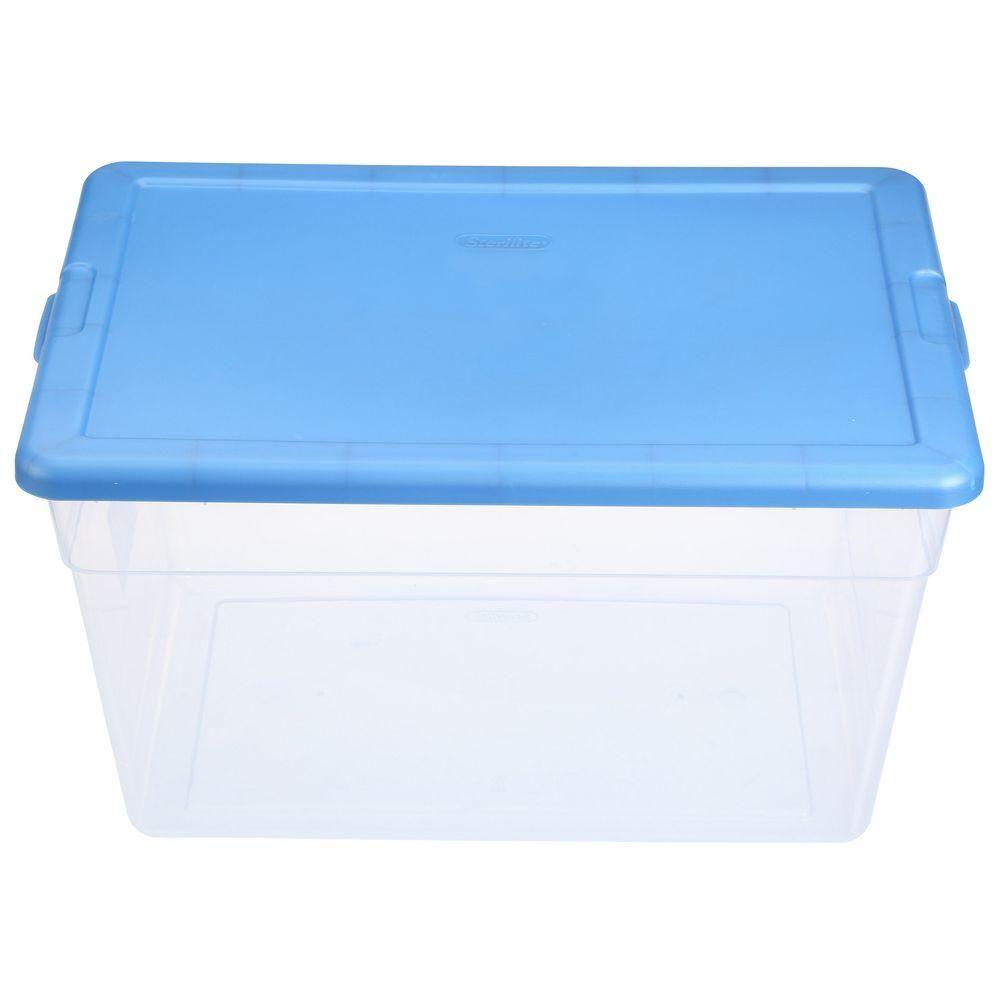 Sterilite 56 Qt Storage Box In Blue And Clear Plastic 16591008 The Home Depot Clear Storage Bins Plastic Storage Bins Sterilite