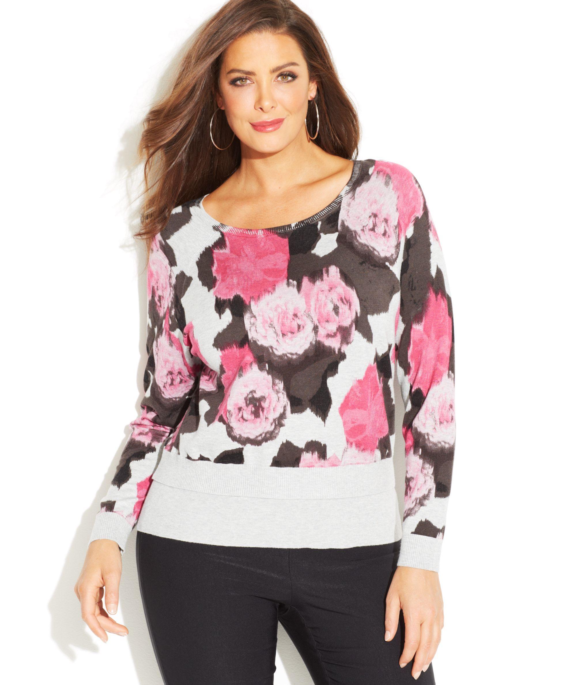 4a814fea97695 INC International Concepts Plus Size Animal-Print Sweater