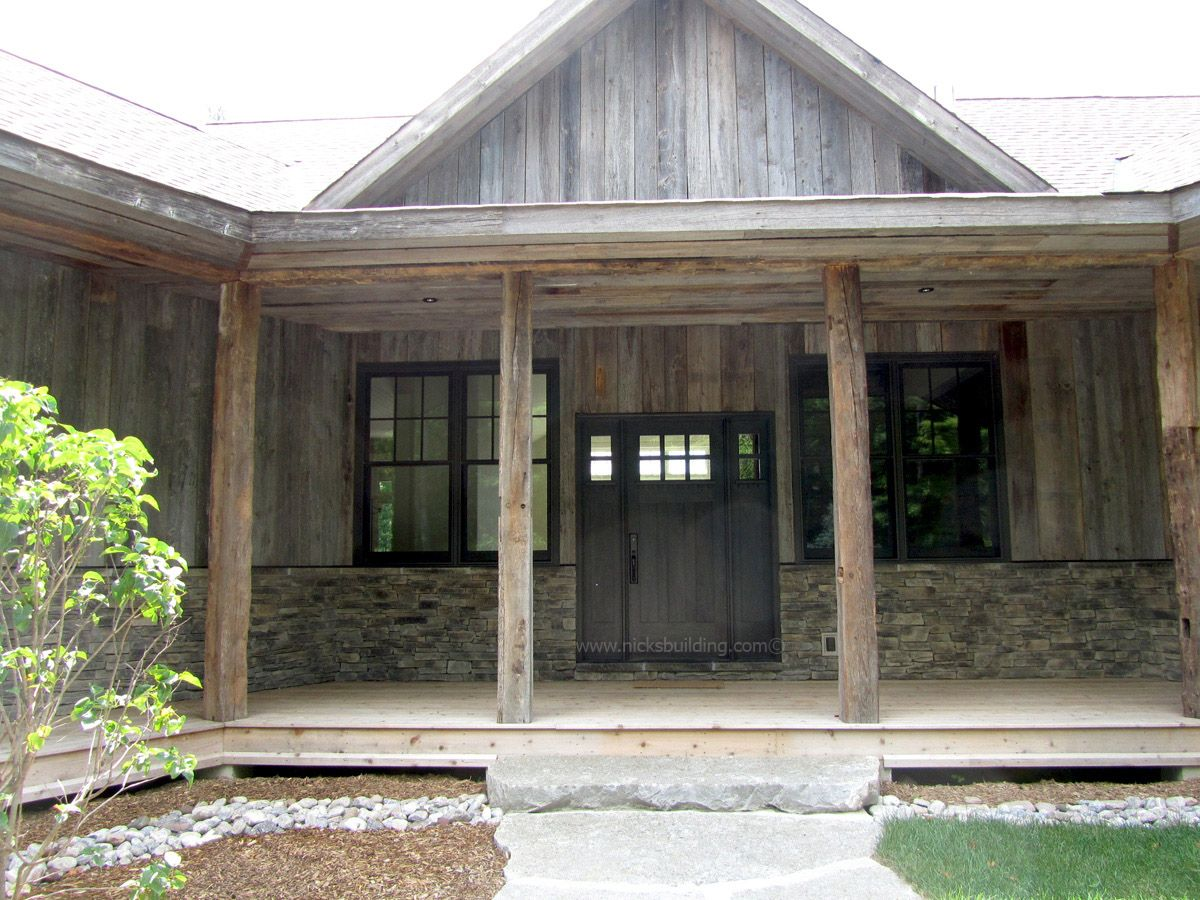 Old World House. Cabin With Stone. Farm Style House. Black Front Door.