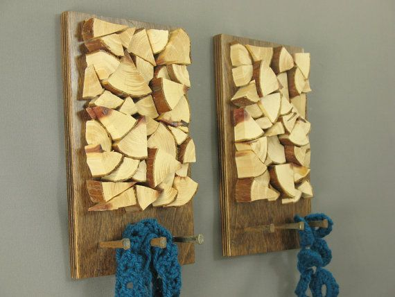 Set of modern rustic wood key racks with chopped cedar wood, wall ...