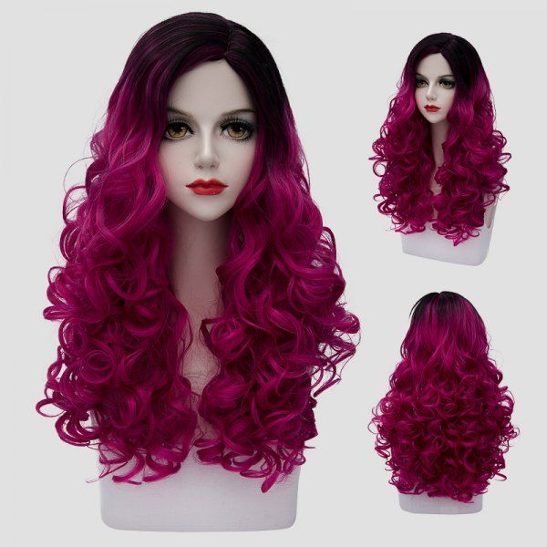Synthetic Wigs 65cm Long Wavy Black Mixed Blonde Lolita Girls Fashion Cosplay Full Wig+wig Cap Heat Resistant Good Reputation Over The World Synthetic None-lacewigs