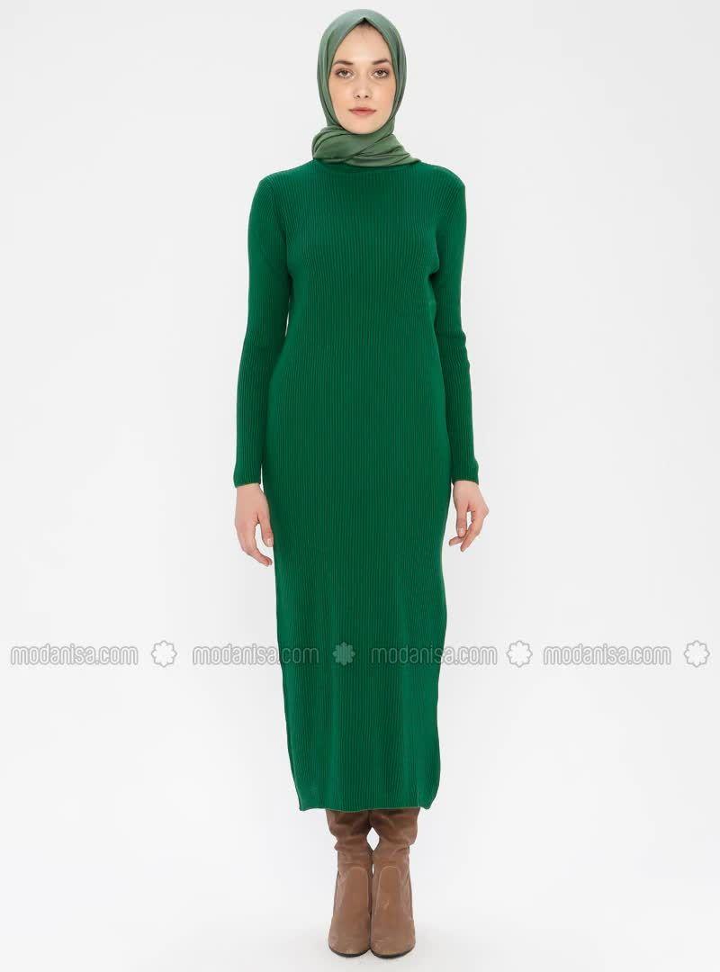 Bogazli Triko Elbise Yesil 2020 Elbise Modelleri Elbise Triko