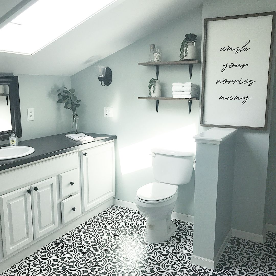 Freshen Up A Bathroom With A Stenciled Tile Floor | Patchwork tiles ...