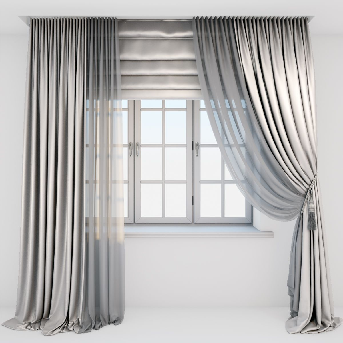 Light beige silk curtains on the floor straight and with a pick-up
