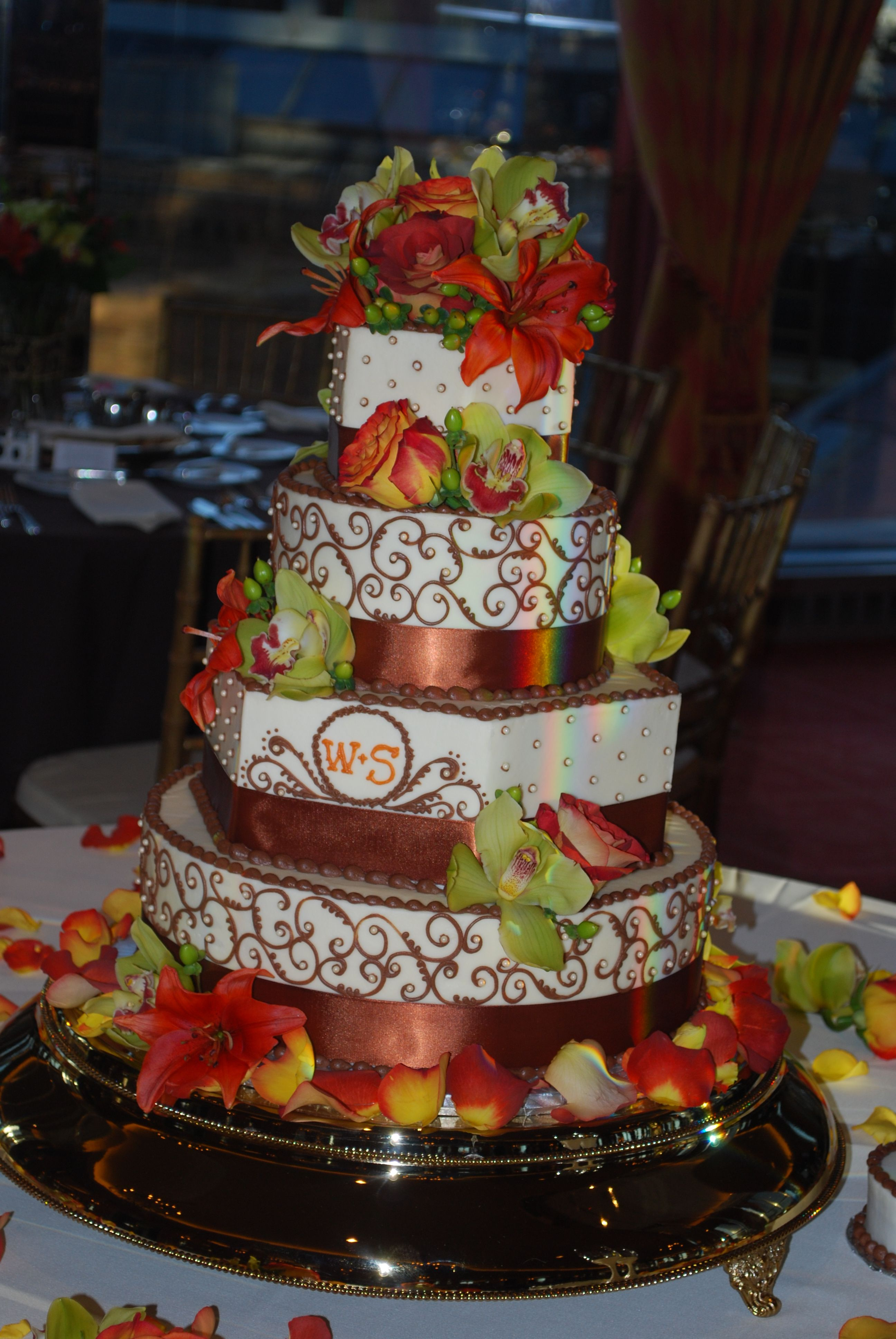 Fall color floral wedding cake another