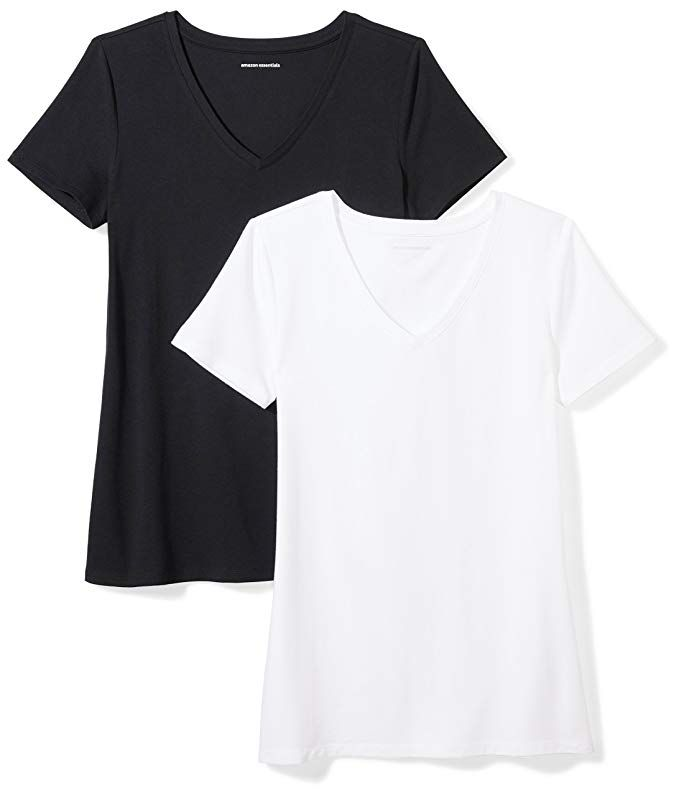 1553  1950 Amazon Essentials Womens 2Pack ClassicFit ShortSleeve VNeck TShirt 56 Cotton 38 Modal 6 Spandex Imported Machine Wash A wardrobe musthave this pack of two Vnec...