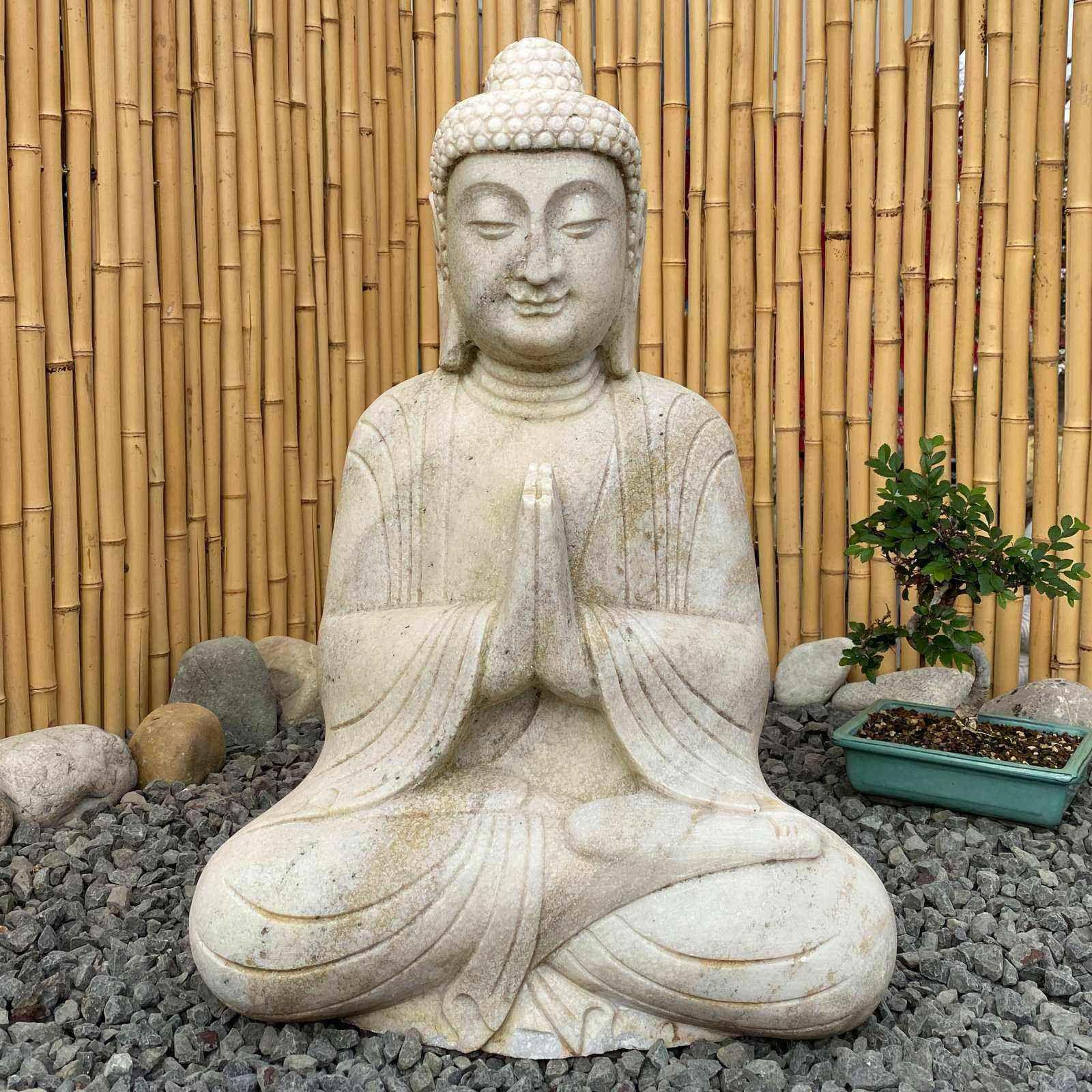 Garten Marmor Buddha 60cm Namaste Statue Statue Buddha Buddha Figur