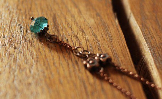 Collana metallo simil  ottone perla in vetro blu di DrawingJewelry