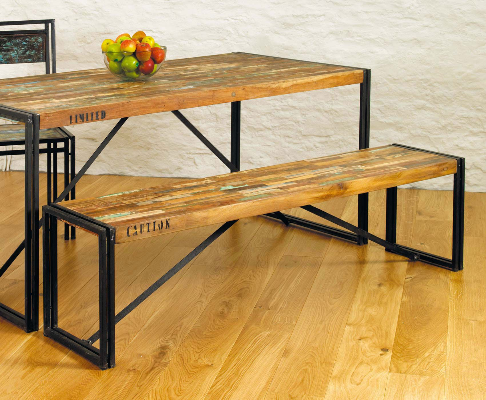 Rustic Industrial Dining Table Chic Hampshire Furniture Completed With Hardwood Benches Using Black Iron Frames On
