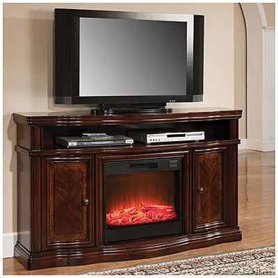 60 Cherry Media Electric Fireplace With Doors Media Electric