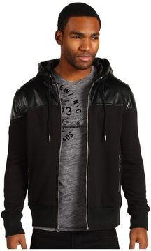 e41f65bf34 shopstyle.com: Marc Ecko Cut & Sew - Faux Leather Overlay Hoodie (Black) -  Apparel