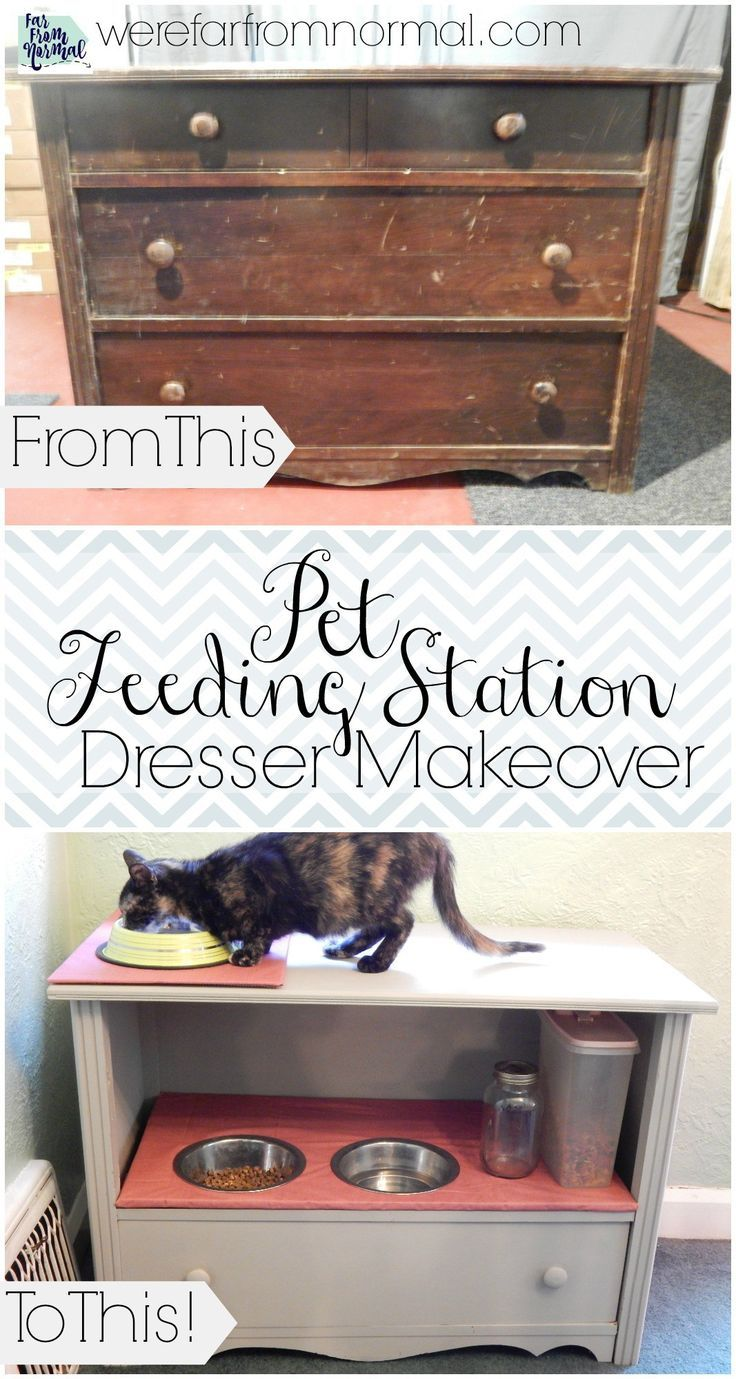 repurpose furniture dog. This DIY Pet Feeding Station Is A Great Idea For All Owners. If You Have An Old Dresser In Your House, Don\u0027t Throw It, Convert It Into Beautiful And Repurpose Furniture Dog E