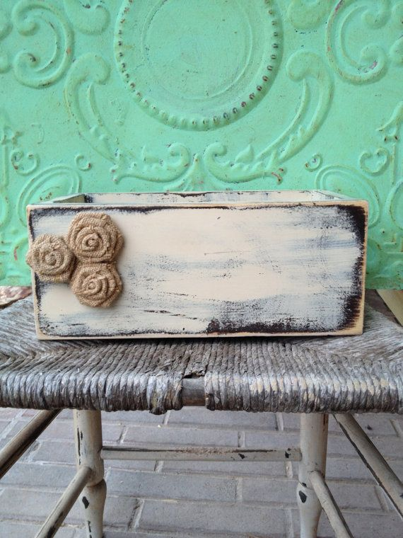 Shabby Chic Ivory and Brown Home Décor Box by SassySouthernCharm