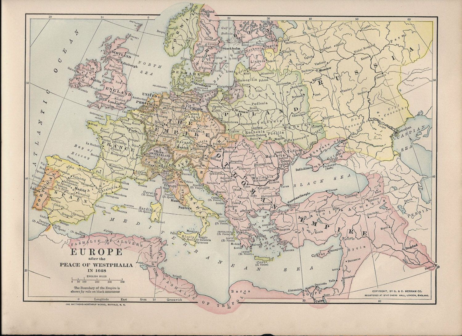 Antique Map Europe In After The Peace Of Westphalia - Europe map 1648 westphalia
