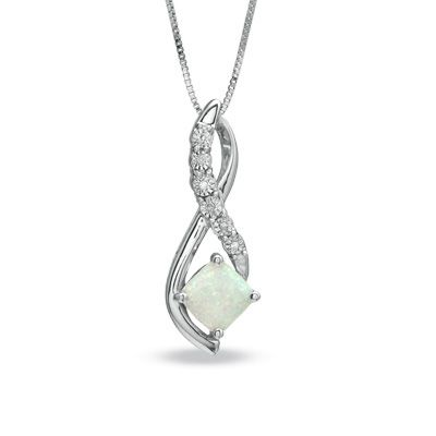 Zales 7.0mm Lab-Created Opal Pendant in Sterling Silver akrgcRGV