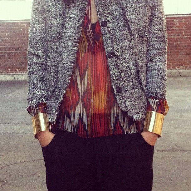 print, tweed & gold cuffs