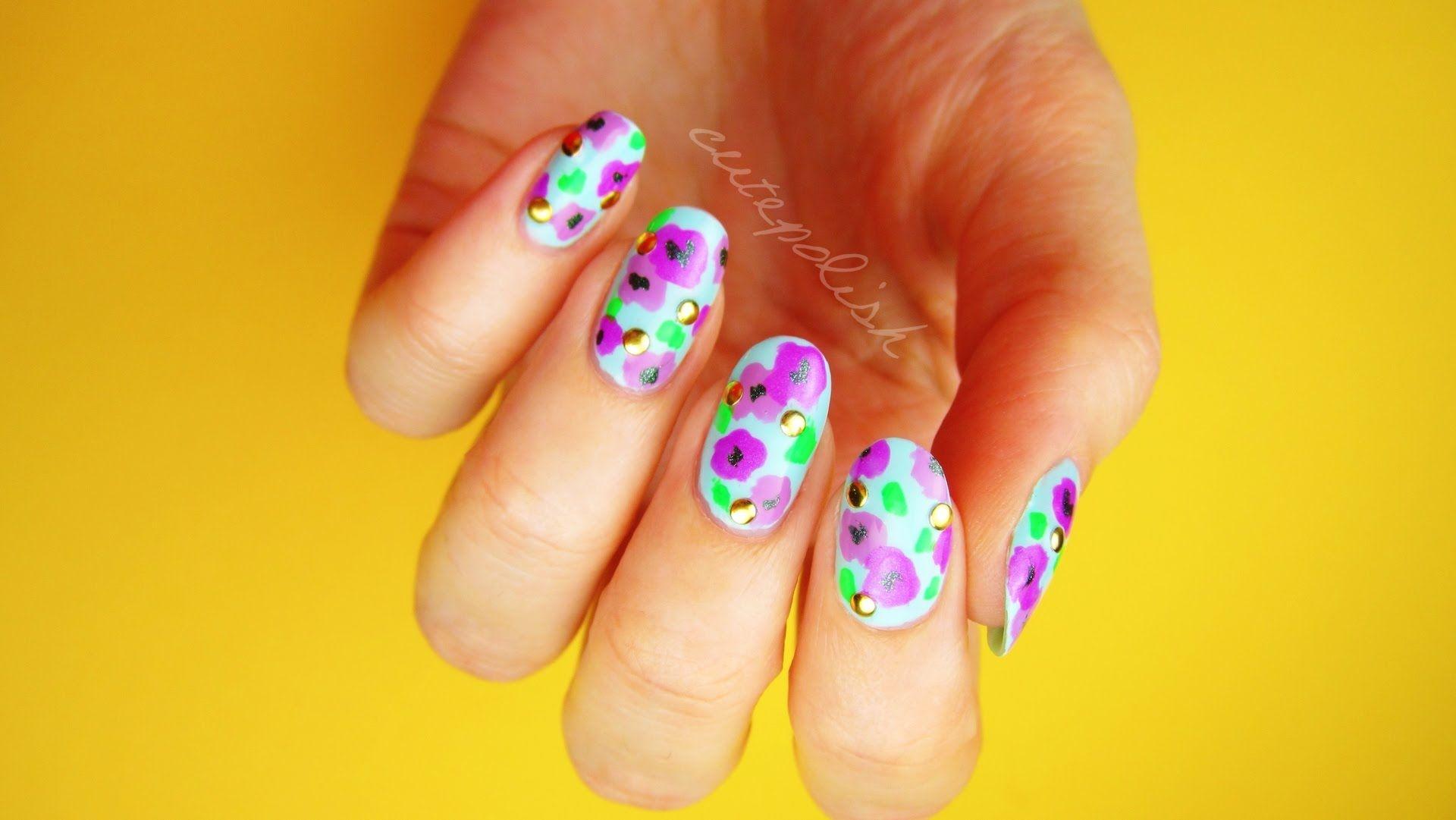 Cutepolish bold floral nails for spring no tool nail art