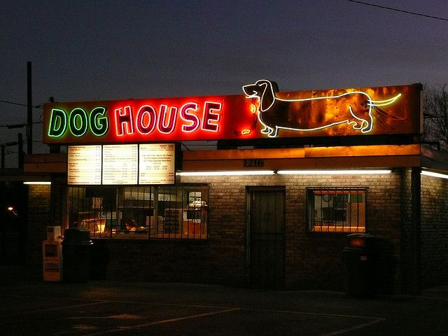 Albuquerque Nm Dog House Hot Dogs At Night Neon Signs New