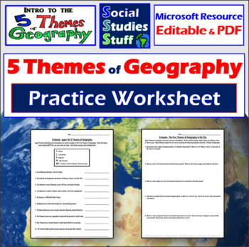 Five Themes Of Geography Worksheet 5 Themes Classify Distance Learning Geography Worksheets How To Memorize Things Five Themes Of Geography