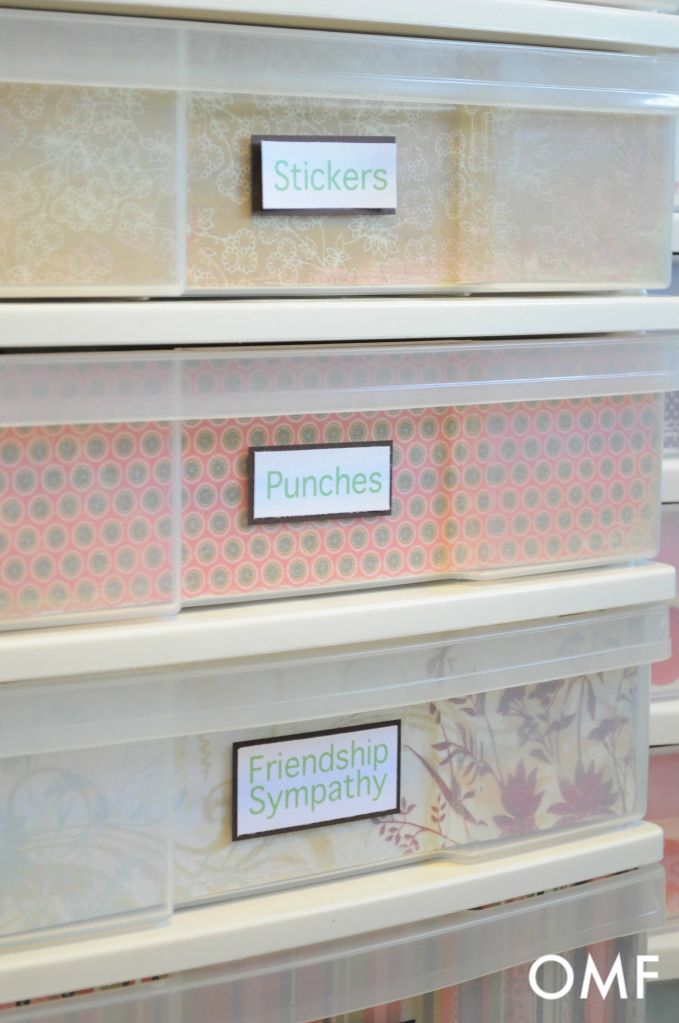 Scrapbook Paper Drawer Fronts And Printed Labels For A Plastic