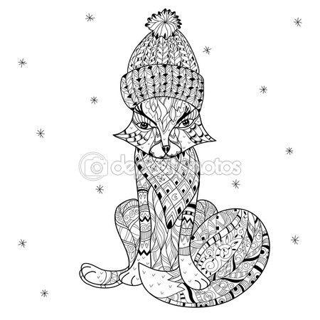 Mano doodle dibuja contorno fox boho sketch — Vector de stock ...