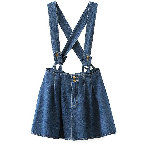 Chicnova Fashion Retro Style Denim Skirt (€32) ❤ liked on Polyvore featuring skirts, bottoms, overalls, dresses, blue skirt, knee length denim skirt, denim skirt, retro skirt и blue denim skirt